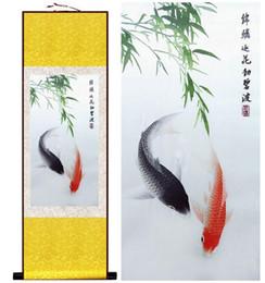 chinesische malerei rollt Rabatt Fischmalerei Seidenrollbilder traditionelle Kunst chinesische Malerei Fisch Bild Wall Art Scroll Hang Bild