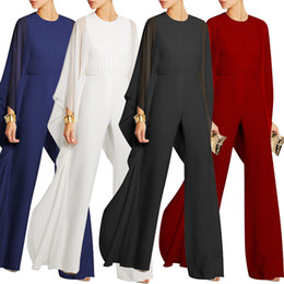 Wholesale Elegant Wide Leg - Wide Leg Elegant jumpsuits Black V-neck Embellish Cuffs Long Mesh Sleeves Plus Size XXXL Overalls For Women Combinaison Femme