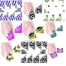 Wholesale Watermark Nails - 50pcs New French Manicure Tips Mixed 33 Design Water Transfer Nail Art Sticker Decal Manicure Watermark Wraps DIY