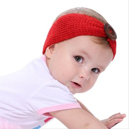 Wholesale Knit Head Band Bow - 7Colors Baby Bohemia Crocheted Headband Big Buttons Knitted Head bands Fashion protect Ear Bow Headwear Girl Hair Accessories B11