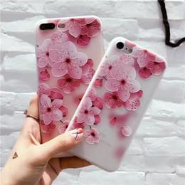 Wholesale Iphone Rain Case - Hot Sale Peach Blossom Case For iPhone X 8 8 Plus 7 7 Plus 6S Plus TPU Soft Cover Flower Petal Rain