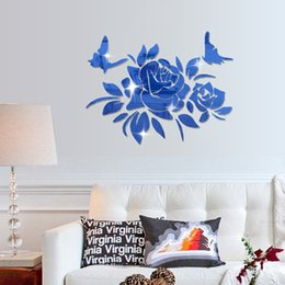 Wholesale Chinese Art Flowers Butterflies - Peony Flower Butterfly Arcylic Mirror Wall Stickers DIY Art Decal Removeable Wallpaper Mural Sticker for Living Room Bedroom Bathroom KK0025