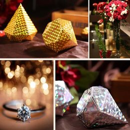 Wholesale Sweet Wedding Favours - 5 colors--100pcs colorized Diamond shaped Candy Box Wedding Gift Jewelry DIY Favour Boxes Sweet Gift Box