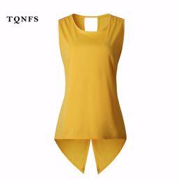 Wholesale Sleeveless T Shirt Women - Wholesale- TQNFS New Sleeveless T Shirt Women Casual O Neck Solid Summer Vest Back Cross Lady Tshirt Top Women's T-shirts Plus Size