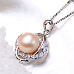 Wholesale Fashionable Necklace Pearl - New Fashion 100% Sterling Silver 925 necklaces Jewelry pendants Natural Pearl Jewelry Wedding Gifts Double Heart Shape Fashionable Jewellery