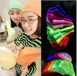 Wholesale Candy Color Hat - Knitted Neon Hats Beanie Girls Autumn Warm Casual Cap Women's Winter Solid Hats GD Candy Cap 27 color KKA2057