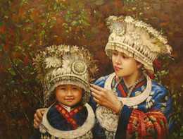 Wholesale Young Girl Oil Paint - Framed beautiful Chinese young girl sisters Minority Hmong,100% Handcrafts portrait Art Oil painting canvas,Multi sizes Available P006