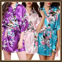 Wholesale Silk Print Robe - 2017 Faux Silk Women Sleepwear 10 Colors Peacock Printing Robe Nightwear Female Imitated Silk Nightgown Ladies Pajamas