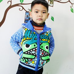 Wholesale Dinosaur Sweaters - Boys Outwear Sweater Coat Children Clothing Spring Autumn Zipper Hooded Sweater Shirt Cartoon Dinosaur Print Thin Coat