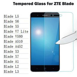 Wholesale Screen L5 - Wholesale-HD 0.26mm Screen Protector Tempered Glass for ZTE Blade X3 X5 X7 A452 A510 A1 L5 V580 L2 L3 S6 HD Toughened Protective Film
