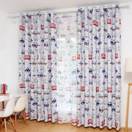 Wholesale Best Selling Curtain - Best Selling Sunproof Curtains Cartoon Car Printed Pastoral Style Curtains for Bedding Room Window Curtains 1 Piece JI0289