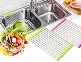 Wholesale Sinks Bowls - Kitchen Sink Dish Rack Drainer 37 x 23CM Stainless Steel Silicone Non-slip Folding Drying Rack Holder For Bowl Fruit Vegetable 12Pcs Sticks