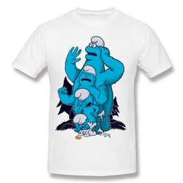 Wholesale Natural Guys - Smurf Monster T shirts Man Fashion Shirts For Guys Homme Natural Cotton Black T Shirt Fashion 2017 Natural Cotton Fun Tee Shirts