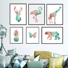 Wholesale Giraffe Head - Geometric Coral Animals Canvas Art Prints Posters Deer Head Giraffe Bear Flamingo Pattern Abstract Giclee Print Wall Pictures For Home Decor