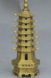 "Wholesale Chinese Figurines Statues - 6"" Chinese ZhenZhai Brass WenChang Buddhist Stupa Pagoda Tower Statue Figurine"