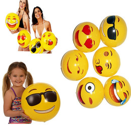 Wholesale fun balls - 30CM PVC Beach Ball Party Toys Emoji Expression Face Inflatable Ball Adult Children Sand Play Water Fun Toys Party Supplies WX-T103