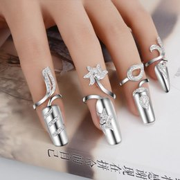 Wholesale Nail Art Plates Wholesale - Fashion S925 Silver With Rhinestone Finger Nail Ring Charm Flower Crystal Female Personality Nail Art Rings