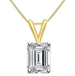 Wholesale Emerald Cut Diamond Yellow Gold - 2ct Emerald Cut VVS1 D 10k Solid Yellow Gold Solitaire Pendant Necklace