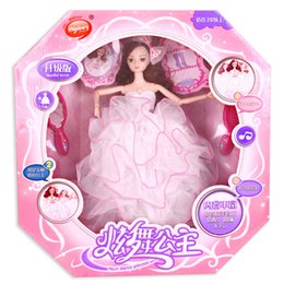 Wholesale Toy Dancing Dolls - Barbie Doll Girl Princess Wedding Beautiful Dress Bride Boxed Music Kids Toys Dancing Mini Doll Birthday Christmas Gift
