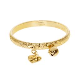 Wholesale Baby Boy Birthday Gifts - Gold Color Bell Heart Charm Bracelet Children Boys Girls Baby Kids Bangle Birthday Jewelry Gift Hot Sale