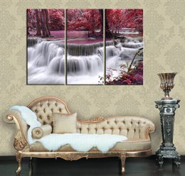 Wholesale Canvas Pictures Living Room - Abstract Canvas Art Red Mysterious Waterfall Print on Canva 3 Piece Wall Pictures for Living Room 16x32inchx3p Framed Large Wall Art