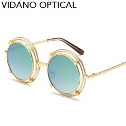 Wholesale Light Brown Frame Glasses - Vidano Optical New Arrival Ultra Light Metal Round Sunglasses For Man & Woman Sun Glasses Beach Party Fashion Designer Eyewear UV400