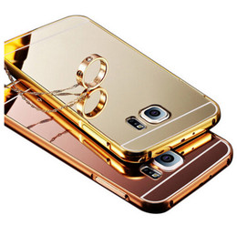 Wholesale Galaxy S3 Aluminum Cases - Mirror Case For Samsung Galaxy S8 S7 Edge S6 Edge Metal Aluminum Frame + Mirror Acrylic Back Cover For Samsung S6 S5 S4 S3 Case