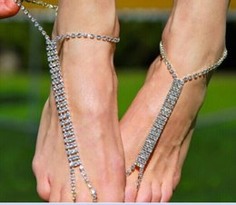 Wholesale Cheap Bridesmaid Shoes Silver - Cheap Barefoot Sandals For Wedding Shoes Sandel Anklet Chain Stretch Gold Or Silver Toe Ring Beading Wedding Bridal Bridesmaid Jewelry Foot