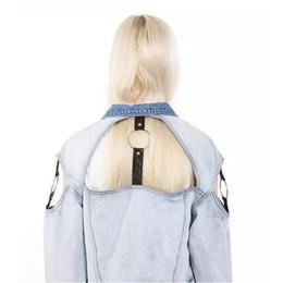 Wholesale Ribbon Jeans - Denim Jacket For Women 2017 Three Quarter Short Jeans Jacket Women Slim Oversized Hole Denim Coat