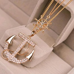 Wholesale Gold Anchor Necklaces For Women - New Fashion 2 Colors White Navy Crystal Rhinestone Anchor Rudder Pendant Long Chain Sweater Necklace Personality for Women