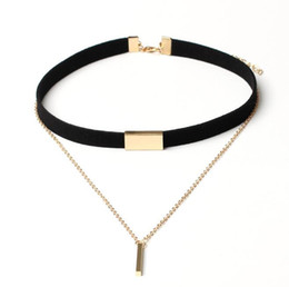 Wholesale American Korea - New creative South Korea velvet multilayer tassel necklaces clavicular chokers necklace jewelry 4 different colors match