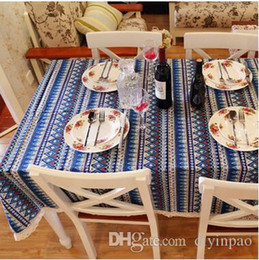 2019 cubiertas textiles 140 * 180 Cuadrado Mantel de algodón Cubierta de la mesa Raya azul bohemia Banquete Banquete de boda Decoración Mesas Textiles para el hogar Mantel de picnic cubiertas textiles baratos
