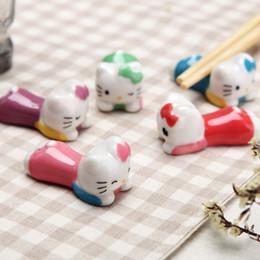 Wholesale Bamboo Chopsticks Holder - Wholesale- 1 set 5pcs Hello kitty cute chopsticks holder table accessories for decoration