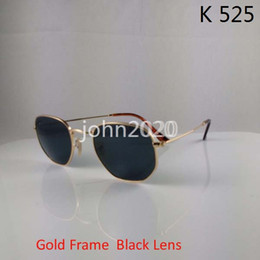 Wholesale Green Personality - High Quality Mens Womens Fashion Hexagonal Metal Sunglasses Irregular Personality Sun Glasses Gold black 51mm Glass Lens with brown box