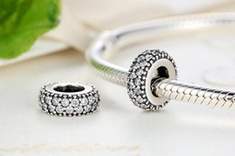 Wholesale Diamond Bead Spacer - Authentic 925 sterling silver Beads Spacer Clear Double CZ Diamond Charms Fit Bracelet DIY Jewelry Accessories YZ