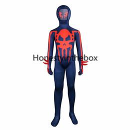 Traje de lycra azul oscuro online-Venta caliente 2017 Dark Blue Devil and Skull patrón impreso Lycra Spandex de cuerpo completo traje Zentai traje para niños