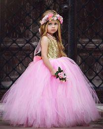 Wholesale Kids Feather Vests - Blush Flower Girls Dresses Gold Sequins Hand Made Flower Sash Ankle Length Tulle Jewel A Line Kids Formal Dress Junior Bridesmaid Dress