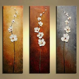 Wholesale Modern Abstract Painting Flowers - Unframed 3 Panels White Flower Hand Painted Oil Painting Modern Wall Picture Palette Knife Painting For Home Decoration Artwork