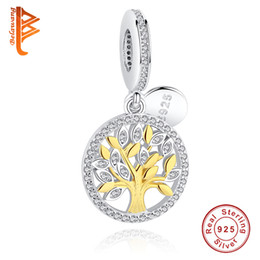 gift christmas tree Promo Codes - BELAWANG 925 Sterling Silver Family Tree Dangle Charm with Cubic Zircon Fit Pandora Charm Bracelet DIY Jewelry for women Christmas Gift