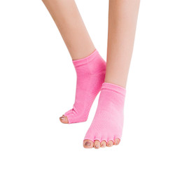 Baumwollhälfte online-Großhandels-1pair Frauen Baumwolle Half Toe Casual Socken Rutschfeste Peep Toe Anti-Rutsch-Pilates Knöchel Griff Durable Open Half Five Fingers Socken