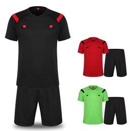 Establecer camisetas de fútbol online-Juego de Árbitro de fútbol Conjunto de color sólido Árbitro de fútbol Camiseta de manga corta Hombres y mujeres Camiseta de competición profesional