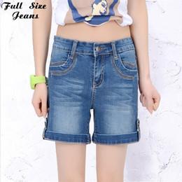 Wholesale Rivets Jean Short - Wholesale- 2017 Summer Plus Size Cuffed Jean Shorts Oversized Stretch Denim Blue Shorts Casual Fit Short Jeans 4XL 5XL 6XL 7XL 22 24