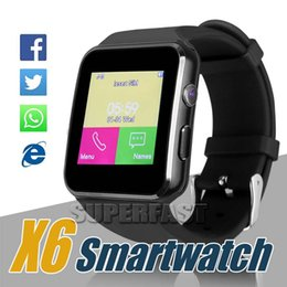 Wholesale Android Supports Screens - Smartwatch Curved Screen X6 Smart Watch Bracelet Watch Support Camera SIM Card TF Card Slot For LG Samsung Android Cellphone with Retail Box