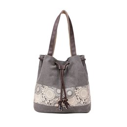 Wholesale Hand Bags Shoulder Lace - 2017 New High Quality Women Canvas Lace Patchwork Shoulder Bags Tote Hand painted Handbags Fashion Large Capacity Bags Original Design