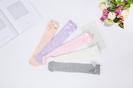 Wholesale Girl Knee Socks White - Baby Girls Knee High Socks Kids Children Cute Lace Bows Princess leg Warmers Solid Cotton Girl Long Tube White Socks 1-6years