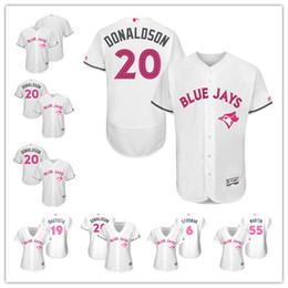 Wholesale Cool White Kids - Mens Womens youth custom Toronto Blue Jays #20 Josh Donaldson White pink Mother Day 2017 kids stitched baseball flex cool base game Jersey