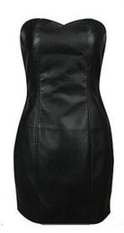 Wholesale 5xl Faux Leather Dress - Wholesale- Sexy Black Faux Leather Pencil Bodycon Boob Prom Tube Strapless Mini Dresses 6XL Plus Size Womens Shapewear