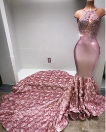 Wholesale Lavender Rose Petals - Cascading Ruffles Rose Pink Long Prom Dresses Halter Sexy Back Rose Flower Sweep Train Appliques Beaded Sequined Mermaid Evening Dress