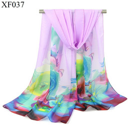 Wholesale Long Silk Scarves Wholesale - NEW 2017 29Colors 160*50 New Women's Fashion floral prints Long Wrap Shawl Beach Silk Scarf bandanna gradient color FREE Shipping MOQ100pac