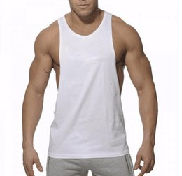 Wholesale Plain Clothes Wholesales - Plain Gym Tank Top Men Singlet Bodybuilding Stringers Sleeveless Clothes Gym Fitness Vest Muscle Shirt Clothing hight quality free shipping